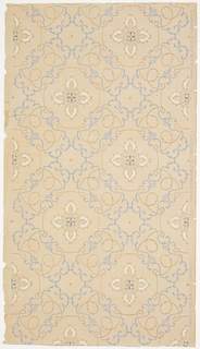 """Floral medallions with looped vining set in scrolling diaper pattern. Printed in light blue, dark blue, grey, white and metallic gold on pink-beige ground. Printed in selvedge: """"S.A. Maxwell & Co. New York & Chicago-"""" pattern number """"1947""""."""