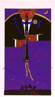 Large man, taking up most of upper section of poster, playing clarinet on blue background. Below, silhouette of man playing piano, wearing a top hat. Colorful text and streamers coming out of clarinet.