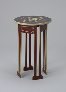 Dark brown circular seat/top with spiral design cut into surface; base composed of plywood panels cut to form skirt and four flat collumn-like legs. Seat and slotted base elements made to assemble/disassemble.