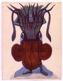 Red-bodied and green-tentacled squid costume with orange, green and blue dots. A figure with raised arms, stockinged feet, and green headress is visible through the superimposed squid (tentacles at the top).