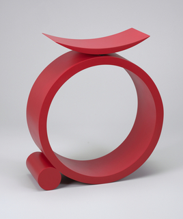 "Crescent-shaped seat mounted on large, open, circular base with small circular support at bottom,side (the base and support resembling the capital letter ""Q""). Surface lacquered red overall."