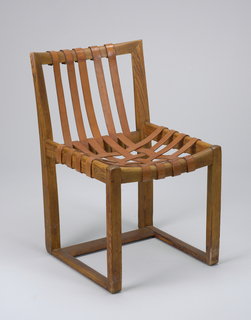 Dark brown wood frame comprising rectangular back, seat and base; five tan vertical leather straps on back, eight interlaced straps on seat.