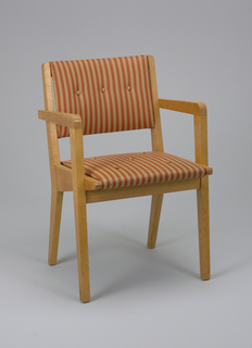 Angular maple frame with rectangular back and square seat upholstered in tan and red-brown striped fabric.
