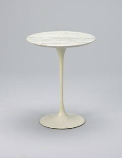 Circular marble top on slender, white-painted aluminum pedestal base flaring to circular foot.