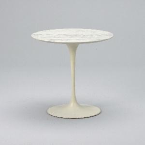 Circular marble top on slender, white-painted aluminum pedestal base flaring to circular foot.