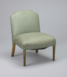 Louis XVI-style miniature slipper chair; seat and back upholstered in blue-green silk with matching braid.