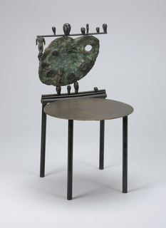 Flat disk for seat with straight legs; back composed of cast bronze painter's palette decorated with spirals and a figure. At the top of back, a cast bronze stick upon which sit different sized heads and hangs one figure's body.