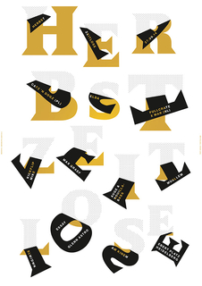 Poster for a fall fesitval featuring gold letters peeling from a white background to expose the black undersides of the letterforms.  Each letter features smaller text with information about a performance.