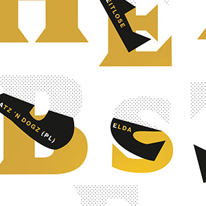 Digital animation for a fall festival featuring gold letters peeling from a white background to expose the black undersides of the letterforms.  Each letter features smaller text with information about a performance.