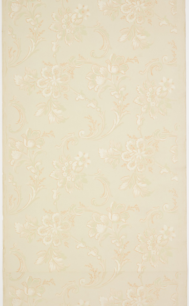 Large floral and leaf motifs interlaced with scrolling acanthus-like motif. White, green, liquid mica, and shades of pink on a pale yellow ground. Pattern number 808.