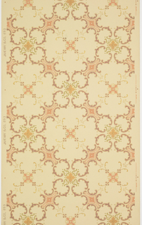 Quatrefoils of acanthus surrounding stylized floral motifs.  Gold, bronze, liquid mica, pink, and green on a cream ground.  Pattern  number893.