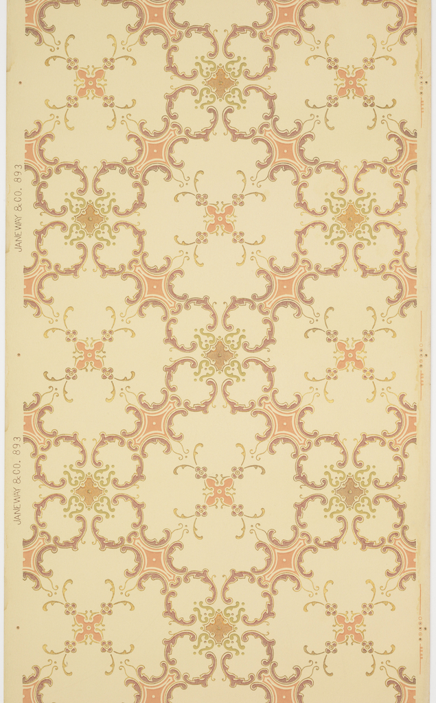 On light gray ground, purple and pink scroll treillage with floral motifs.