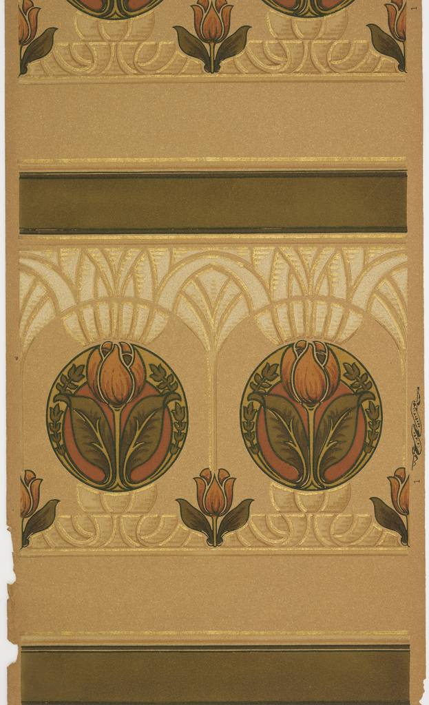 Two borders printed across the width. Stylized tupid motif within a circle which then becomes part of a larger floral motif. Row of smaller tulips below. Heavy brown band at the bottom of design.