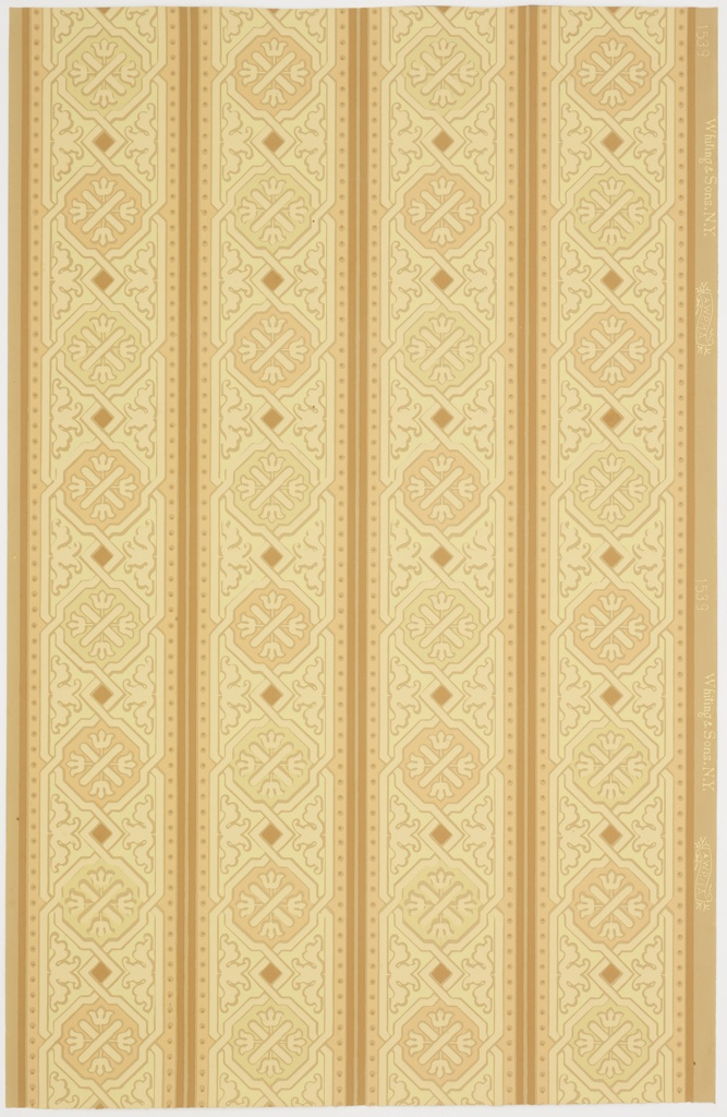 Running in four parallel bands, intertwined lines form guilloche-like design composed of octagonals alternating with squares. Printed in pale green, terra cotta, and tan on light tan ground.