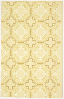 "Tile or grid pattern, with a quatrefoil composed of ""C"" scrolls at the intersection of octoagons. Each octagon contains a larger quatrefoil composed of ""C"" scrolls and bellflowers.Printed on a tan ground. Selvedge on one edge only."
