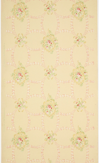 On gray ground, treillage composed of rinceaux of white and pink flowers; floral motifs in gold, pink and white at interstices.