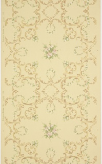 Scrolling acanthus-like motif interlaced with floral springs. Motif surrounds a central floral bouquet of rose-like flowers and leaves. Gold, brown, pink, white, and shades of green on a pale yellow ground. Pattern number 2455.