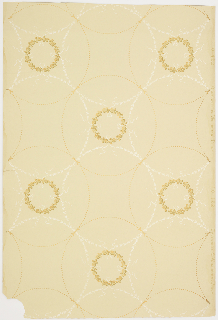 "Connecting circular motifs of beading with smaller inner circular patterns of flowers.  White liquid mica background motif.  Metallic gold, tan, green on a tan background. Pattern: ""0422"""