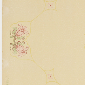 On gray-blue ground, treillage in light brown-green with floral motifs composed of four pink tulips and green at interstices.