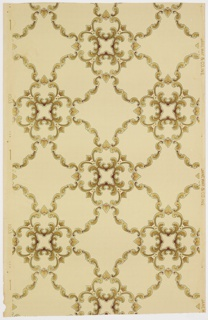 Grid or trellis framework with a quatrefoil-like motif at the intersections. Printed in tan and browns on light tan spotted ground.