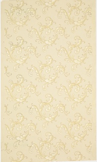 Repeating design of scrolling acanthus sprigs. Printed in tan and white on light tan ground.