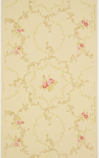 Circles of acanthus and floral sprigs surround floral and leaf motif.  Shades of brown, pink, and green on a cream ground.
