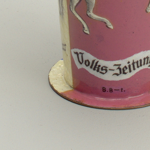 Tapering conical form on flat circular foot. One side decorated with panel showing winged white horse on pink ground above a flowing white banner
