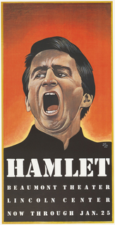 Poster promoting the play Hamlet by William Shakespeare at the Beaumont Theater at Lincoln Center.