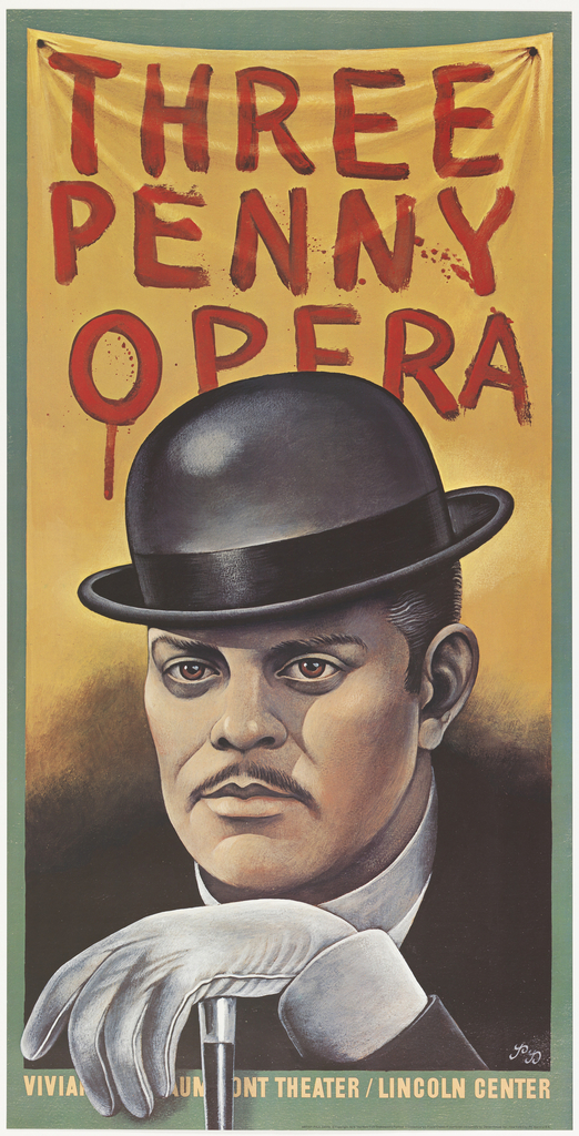 Poster advertising the play Three Penny Opera.
