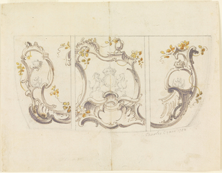 Rocaille design for coach panels.  Upper and lower left corners have advertisements for coach painting attached.