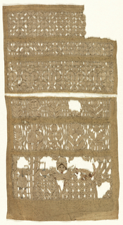 Three bands from a sampler. The bottom band is a scene which originally depicted Judith and her maid putting the newly severed head of Holofernes, Judith holds a sword in her left hand, the edge worked with red silk to indicate blood.