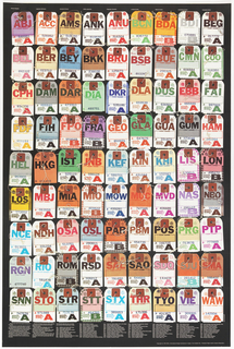 "On black ground, rows of airline luggage tags from airports around the world from ABJ (Abidjan, Ivory Coast), at upper left, to WAW (Warsaw), at lower right, arranged alphabetically.  Printed white text at bottom begins:  ""Airports are a link to the peace and places of the world. . ."" and is followed by a key to the airport codes on the tags above. Printed white text at top lists the word for ""Airports"" in various languages."