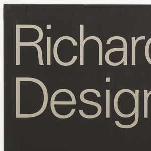 An exhibition poster for the designer Richard Sapper. Silhouetted in white on black ground, three Tizio lamps, overlapping and in different positions.  Imprinted in upper quarter of sheet, the exhibition title, in gray: Richard Sapper / Design. Along lower edge, in gray: 7. Mai-27.Juni 1993 / Di-So 10-18 Uhr, Do 10-21 Uhr / Museum für Kunst / und Gewerbe Hamburg / Raymond Loewy Stiftung / zur Förderung von zeitgemässem / Industriedesign. In lower right corner, a red circle bordered in white and green, possible Museum logo.