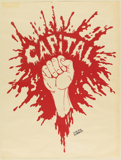 "A clenched fist bursting through blood with word ""Capital"" showing through the splatter."
