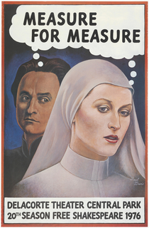 "On blue ground, views of the upper body and faces of two figures, a man standing behind a woman. The woman wears a nun's habit and casts her eyes downward. Behind her, the dark-haired man regards her; he wears a high collar. A shared thought bubble emerges from the two figures' heads, the words ""MEASURE FOR MEASURE"" contained within. In a white box at bottom, further printed text. Poster design contained within red border."