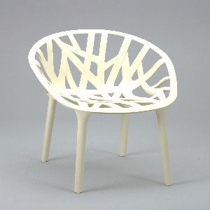 Molded white form: circular basket-type seat of flat branch-like elements on four thin cylindrical legs.