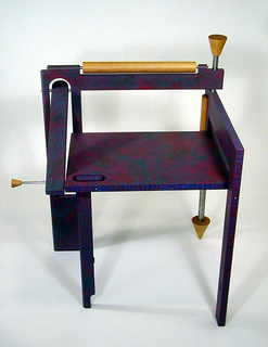part a: chair; part b: pin; part c: bracket; part d: mounting bracket Folding chair painted purple with splattering of fuchsia paint, then marble iced.