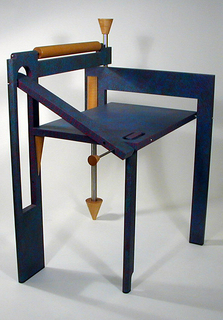 part a: chair; part b: pin; part c: bracket; part d: mounting bracket Folding chair painted blue with splattering of purple paint, then marble iced.