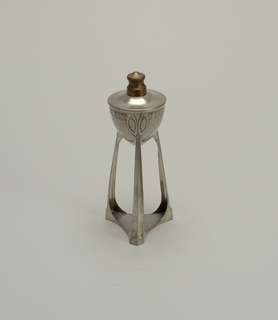 Circular lamp on tripod base.
