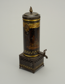 a) Cylindrical chamber fitted with coffee basket, standing vertically on pierced square base, which is fitted with sliding drawer for heating arrangement. Cylinder has faucet at bottom, and at top two ring handles with lion-mask holders. B) flat cover with flame finial. Black, with gilt and painted decoration.