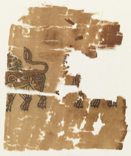 Fragmented and incomplete depictions of a two lions in profile view, in light green, light blue, cream, brown, and gold.