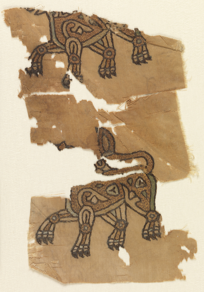 Fragmented and incomplete depiction of two lions in profile view, in light green, light blue, cream, brown, and gold.