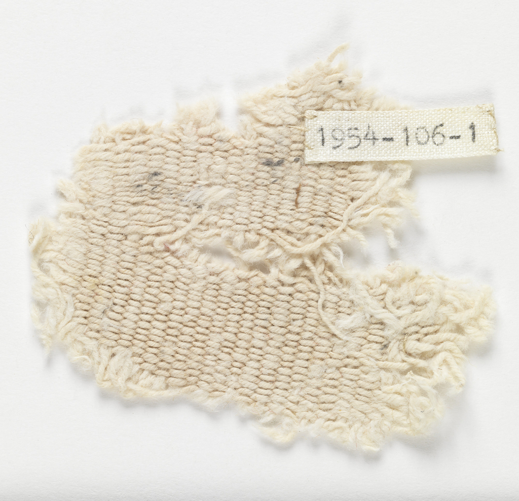 Part of mile-long piece (end not reached) brought back by Columbia University espedition; found in Cahuachi hacienda, about 15 miles from town of Nazca which is about 80 miles from Paracas. From cache of cloth to be used inside Paracas mummy bundles. White cotton, bleached (?). Heavy weft: Z-piled cotton (4 slightly s-spun strands). Heavier warp: 2-plied strands (2) of S-plied Z-spun cotton.
