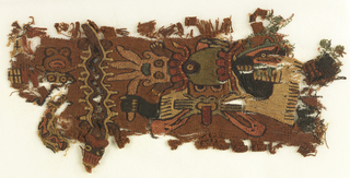 Small fragment consists of highly conventionalized human and fish figures. The ground consists of brown, figures worked in tan, rose, green and dark brown.