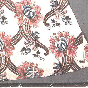 """Wedge-shaped piece of fine firm cotton cloth with medium-scale design of stylized flower heads on top of  grace-fully curving cornucopia forms decorated with graduated dots and a little sprig of blue berries.  These forms are planned to curve left in one horizontal row and right in the next, and a serpentine band of the same reddish brown as the cornucopias underlays each vertical row so that an ogival ground plan accented with flower-heads is suggested.  Shades of rose-red, blue, yellow and green (blue over yellow), violet; black and red outlines; gold leaf on wax or gum base outlining major parts of design.  Lined with plain white silk.  Z-spun cotton, 100-110 warps per inch. 1/8"""" selvages with coarser warps. No complete breadth."""