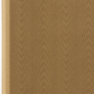All-over stripe patterning, simulating moire or woodgrain. Printed in shades of tan.