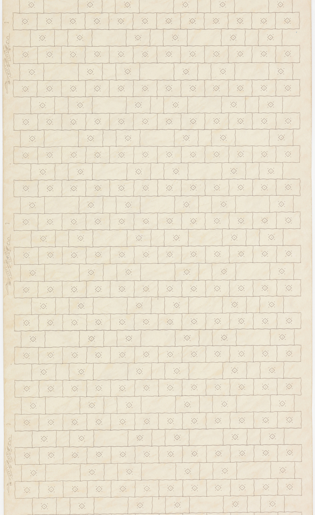 All-over brick pattern. Rows of evenly spaces rectangles, each containing a circular motif, alternating with row of differently sized rectangles, with every other one containing a circular motif.