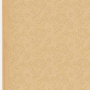 All-over pattern of small floral motifs, with gold swirly lines. Printed on ungrounded paper.