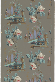 Two alternating views. One is balustrade supporting urn, vine-covered arbor and two perched birds. The other is two large white and pink roses. Printed on a taupe ground.