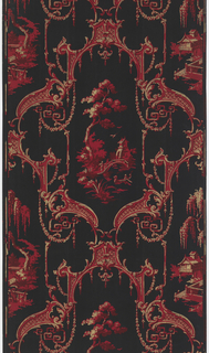 Chinoiserie design, printed in shades of red on black ground.
